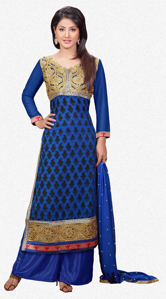 Designer Straight Cut Suit:atisundar enticing Blue Designer Straight Cut  - 6667 - atisundar - 2 - click to zoom