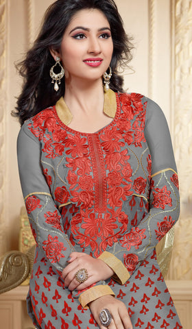 Designer Straight Cut Suit:atisundar comely Grey And Red Designer Straight Cut  - 6670 - atisundar - 4