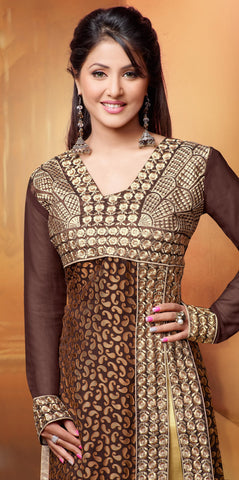 Designer Straight Cut Suit:atisundar admirable Brown Designer Straight Cut  - 6671 - atisundar - 5