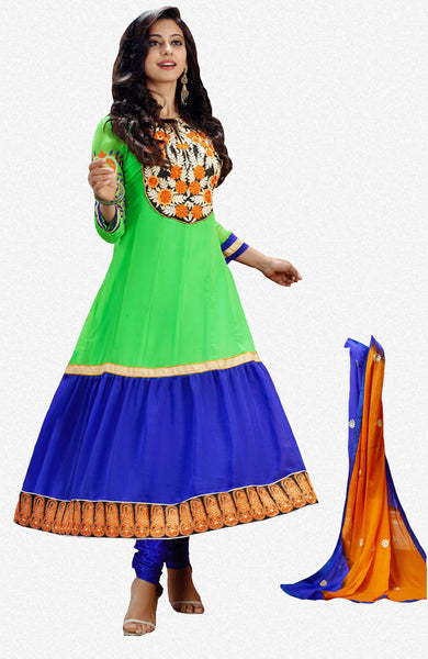 Party Wear Anarkalis:atisundar superb   in Parrot Green And Blue - 4803 - atisundar - 1 - click to zoom