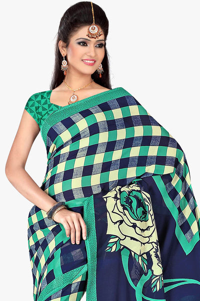 Designer Party wear Saree:atisundar Smart Designer Sarees in Blue  - 11434 - click to zoom
