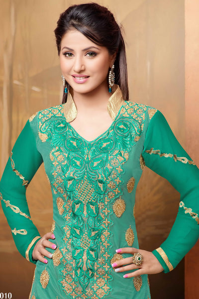 Designer Straight Cut:atisundar elegant Rama Green Designer Embroidered Straight Cut - 10644 - click to zoom