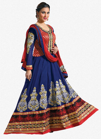 Lara Dutta Collection:atisundar Smart   in Blue And Red - 4965 - atisundar - 1 - click to zoom