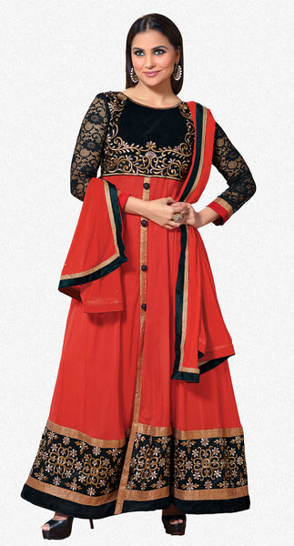 Lara Dutta Collection:atisundar Attractive   in Orange And Black - 4969 - atisundar - 1 - click to zoom