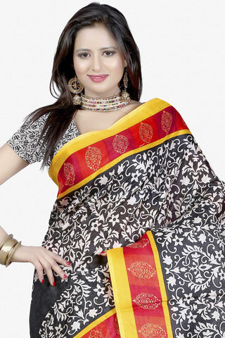 Designer Bhagalpuri Saree:atisundar Great Designer Printed Saree in Faux Bhagalpuri Silk in Multi  - 11131 - atisundar - 2