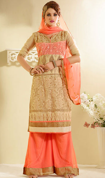 Designer Embroidered Straight Cut:atisundar fair Beige Designer Straight Cut Embroidered Suits - 8777 - atisundar - 1 - click to zoom