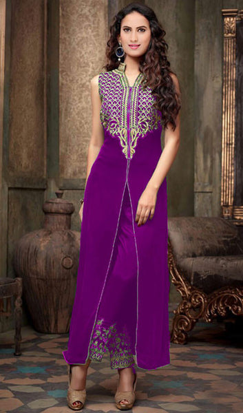 Designer Embroidered Straight Cut Suit:atisundar splendid Purple Designer Straight Cut  - 9032 - atisundar - 1 - click to zoom