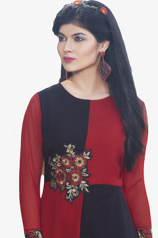 Designer Top:atisundar marvelous Faux Georgette Designer Embroidered Party Wear Top in Red And Black - 10993 - atisundar - 2