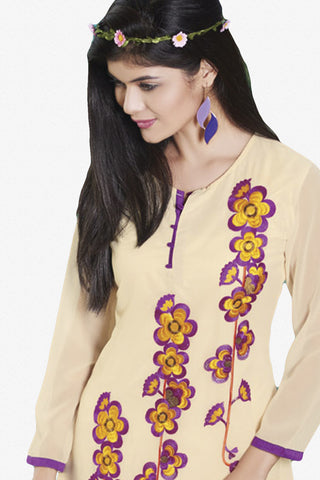 Designer Top:atisundar appealing Faux Georgette Designer Embroidered Party Wear Top in Cream And Purple - 10999 - atisundar - 2 - click to zoom