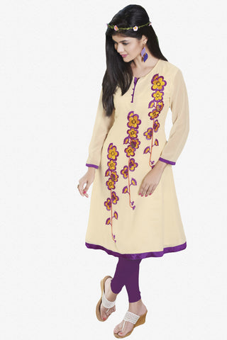 Designer Top:atisundar appealing Faux Georgette Designer Embroidered Party Wear Top in Cream And Purple - 10999 - atisundar - 1 - click to zoom