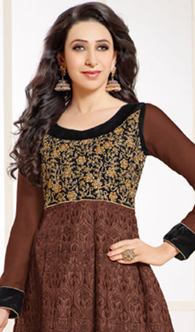 The Karishma Kapoor Collection:atisundar Attractive Brown Designer Embroidered Anarkali - 9921 - atisundar - 2