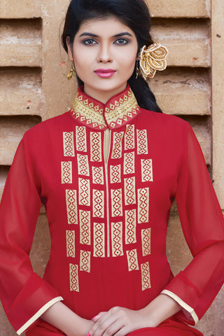 Designer Top:atisundar admirable Faux Georgette Designer Embroidered Party Wear Top in Red - 11002 - atisundar - 4