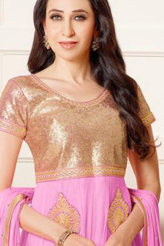 The Karishma Kapoor Collection:atisundar enticing Pink embroidered Party Wear Anarkali - 6784