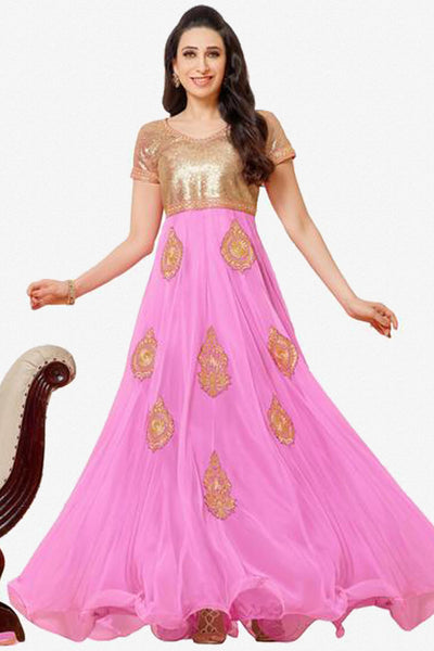 The Karishma Kapoor Collection:atisundar enticing Pink embroidered Party Wear Anarkali - 6784 - click to zoom