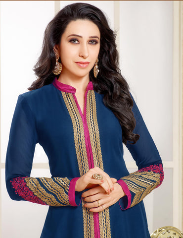 The Karishma Kapoor Collection:atisundar Awesome Blue Designer Straight Cut  - 6781 - atisundar - 3