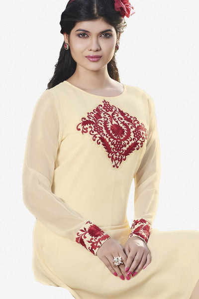 Designer Top:atisundar Great Faux Georgette Designer Embroidered Party Wear Top in Cream And Red - 11008 - atisundar - 2 - click to zoom