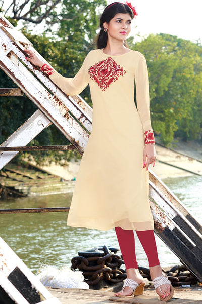 Designer Top:atisundar Great Faux Georgette Designer Embroidered Party Wear Top in Cream And Red - 11008 - atisundar - 3 - click to zoom