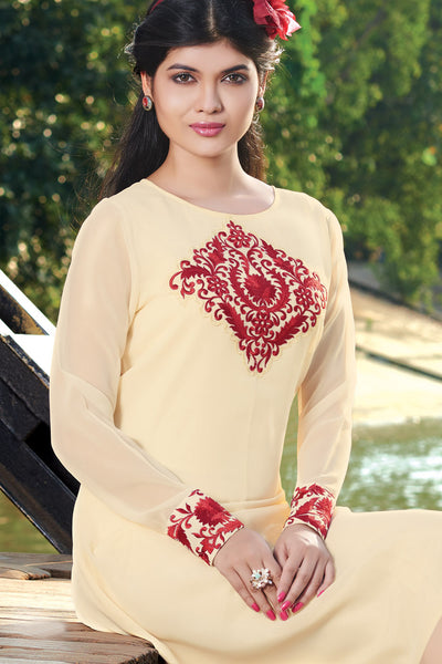 Designer Top:atisundar Great Faux Georgette Designer Embroidered Party Wear Top in Cream And Red - 11008 - atisundar - 4 - click to zoom