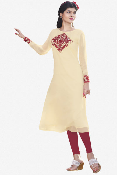 Designer Top:atisundar Great Faux Georgette Designer Embroidered Party Wear Top in Cream And Red - 11008 - atisundar - 1 - click to zoom