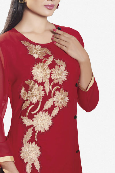 Designer Top:atisundar classy Faux Georgette Designer Embroidered Party Wear Top in Red - 11011 - click to zoom