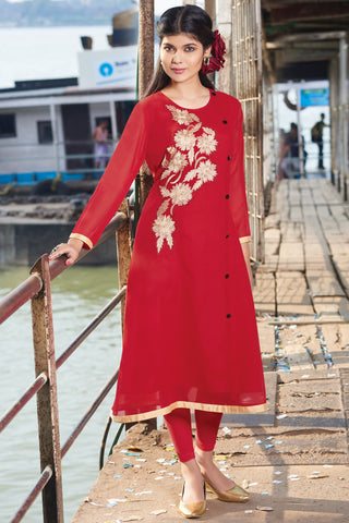 Designer Top:atisundar classy Faux Georgette Designer Embroidered Party Wear Top in Red - 11011 - atisundar - 3 - click to zoom
