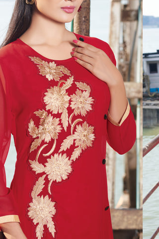 Designer Top:atisundar classy Faux Georgette Designer Embroidered Party Wear Top in Red - 11011 - atisundar - 4 - click to zoom