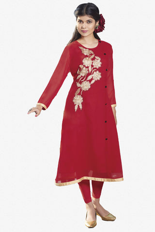 Designer Top:atisundar classy Faux Georgette Designer Embroidered Party Wear Top in Red - 11011 - atisundar - 1 - click to zoom