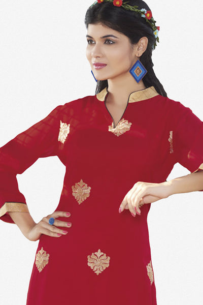 Designer Top:atisundar stunning Faux Georgette Designer Embroidered Party Wear Top in Red - 11020 - click to zoom