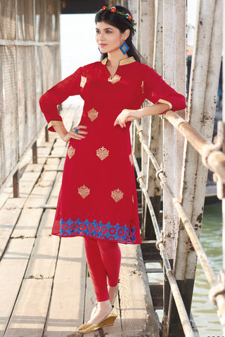 Designer Top:atisundar stunning Faux Georgette Designer Embroidered Party Wear Top in Red - 11020 - atisundar - 3 - click to zoom