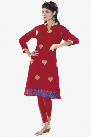 Designer Top:atisundar stunning Faux Georgette Designer Embroidered Party Wear Top in Red - 11020 - atisundar - 1 - click to zoom