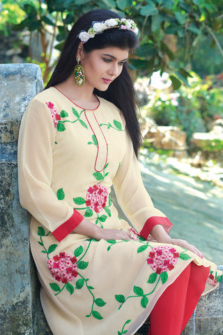 Designer Top:atisundar delightful Faux Georgette Designer Embroidered Party Wear Top in Cream And Red - 11023 - atisundar - 5