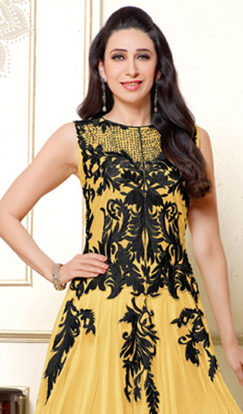 The Karishma Kapoor Collection:atisundar Lovely Light Yellow Anarkali - 9881 - click to zoom