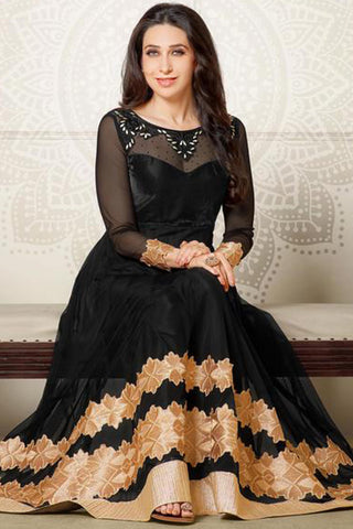 The Karishma Kapoor Collection:atisundar magnificent Black embroidered Party Wear Anarkali - 6793 - click to zoom