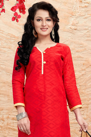 Designer Straight Cut:atisundar cute Red Designer Party Wear Straight Cut - 13181