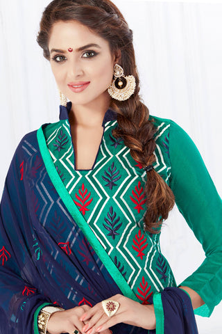 Designer Straight Cut:atisundar stunning Green Designer Embroidered Party Wear Straight Cut - 12740