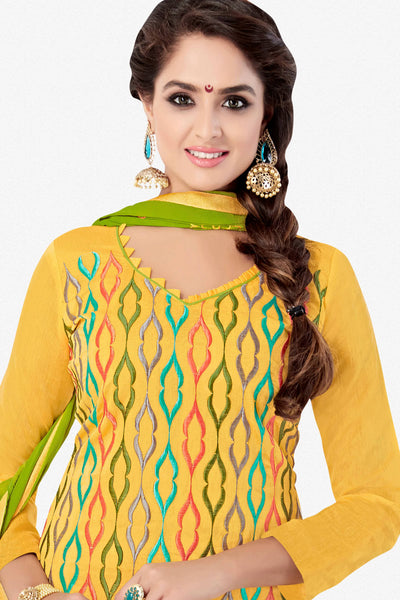 Designer Straight Cut:atisundar Smart Yellow Designer Embroidered Party Wear Straight Cut - 12741 - click to zoom