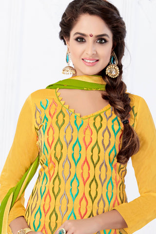 Designer Straight Cut:atisundar Smart Yellow Designer Embroidered Party Wear Straight Cut - 12741