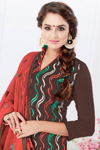 Designer Straight Cut:atisundar gorgeous Brown Designer Embroidered Party Wear Straight Cut - 12742