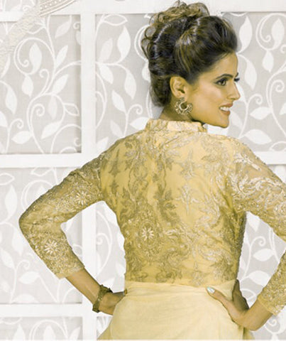Designer Party Wear Gown:atisundar enticing Soft Net Designer Partywear Gowns in Cream - 7561 - atisundar - 4