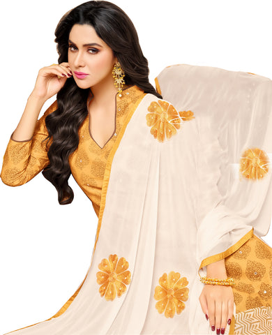 Designer Printed Straight Cut Suit With Embroidered Dupatta:atisundar marvelous Yellow print with embroidered - 14437