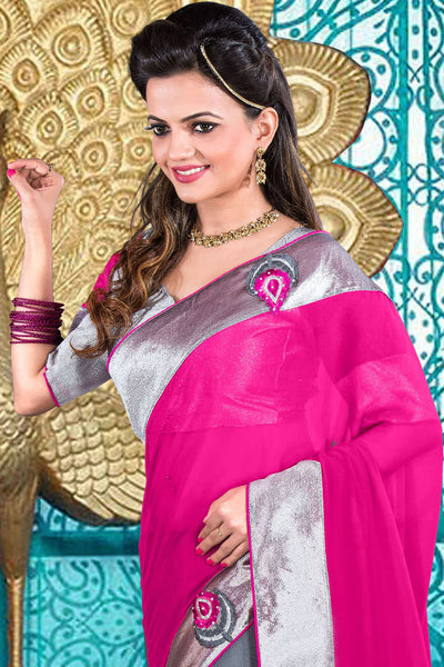 Designer Partywear Saree!:atisundar delightful Designer Party Wear Sarees in Pink And Gray  - 7590 - atisundar - 3 - click to zoom