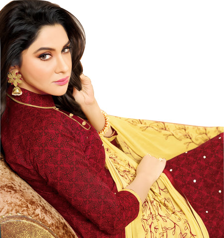 Designer Printed Straight Cut Suit With Embroidered Dupatta:atisundar Attractive Maroon print with embroidered - 14438