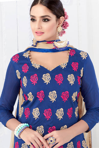Designer Straight Cut:atisundar Charismatic Blue Designer Embroidered Party Wear Straight Cut - 12744