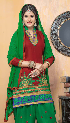 Embroidered Designer Patiala Suits In Cotton:atisundar marvelous   in Maroon - 5702 - atisundar - 4