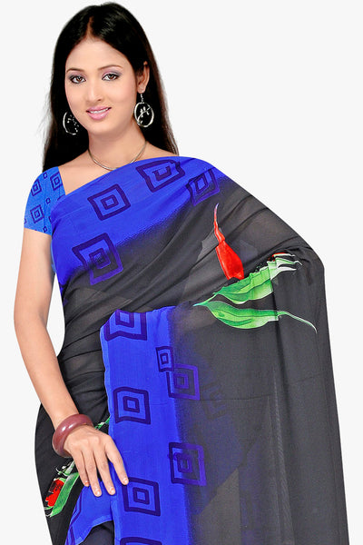 Designer Party wear Saree:atisundar Alluring Designer Sarees in Grey And Blue  - 11441 - click to zoom