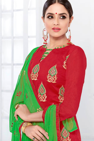 Designer Straight Cut:atisundar wonderful Red Designer Embroidered Party Wear Straight Cut - 12745
