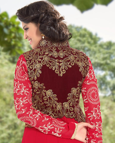 Designer Anarkali:atisundar superb Red Anarkali - 8377 - atisundar - 3 - click to zoom