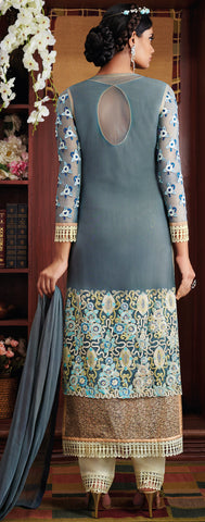 Designer Stright cut: atisundar admirable Grey Designer Straight Cut  - 8662 - atisundar - 3 - click to zoom