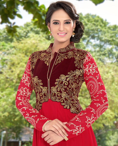Designer Anarkali:atisundar superb Red Anarkali - 8377 - atisundar - 4 - click to zoom