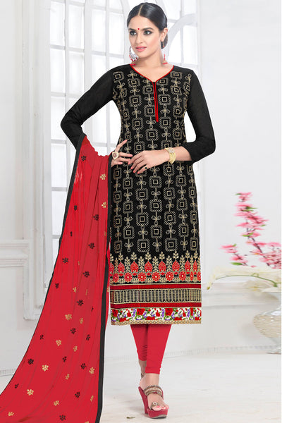 Designer Straight Cut:atisundar Attractive Black Designer Embroidered Party Wear Straight Cut - 12746 - click to zoom
